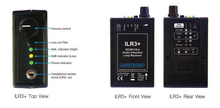 Ampetronic ILR3+ Induction Loop Tester / Receiver with System Checking LEDs
